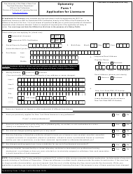 "Optometry Form 1 ""Application for Licensure"" - New York"