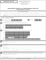 "Optometry Form 4A ""Supporting Affidavit of Professional Practice"" - New York"