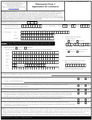 "Pharmacist Form 1 ""Application for Licensure"" - New York"