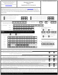 "Physical Therapy Form 1 ""Application for Licensure"" - New York"