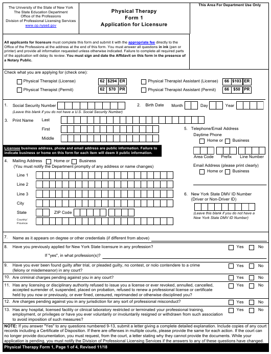 Physical Therapy Form 1  Printable Pdf