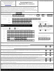 "Psychologist Form 1 ""Application for Licensure"" - New York"