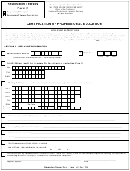 "Respiratory Therapy Form 2 ""Certification of Professional Education"" - New York"