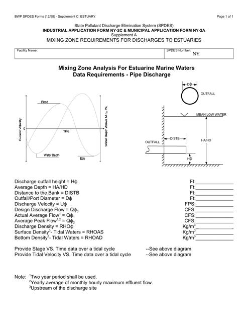 Form NY-2C (NY-2A) Supplement A, C: ESTUARY  Printable Pdf