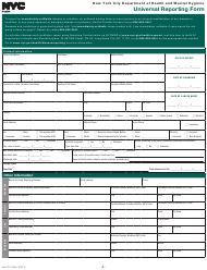 """Form PD-16 """"Universal Reporting Form"""" - New York City"""