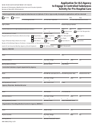 """Form DOH-3826 """"Application for Als Agency to Engage in Controlled Substances Activity for Pre Hospital Care"""" - New York"""
