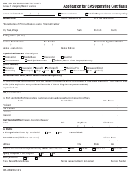 "Form DOH-206 ""Application for EMS Operating Certificate"" - New York"