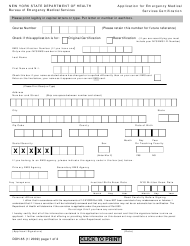 "Form DOH-65 ""Application for Emergency Medical Services Certification"" - New York"