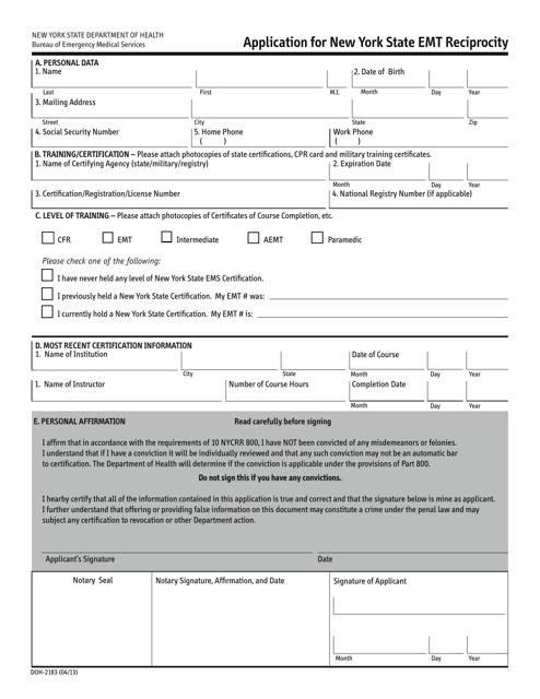 Form DOH-2183  Printable Pdf