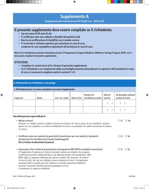 Form DOH-5178A-IT Supplement A Printable Pdf
