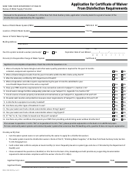"Form DOH-350 ""Application for Certificate of Waiver From Disinfection Requirements"" - New York"