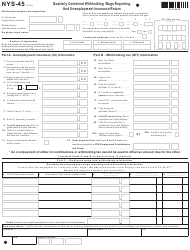 "Form NYS-45 ""Quarterly Combined Withholding, Wage Reporting, and Unemployment Insurance Return-Attachment"" - New York"