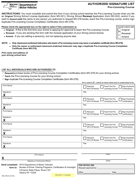 form mv 278 signature authorized licensing course pre pdf york fill templateroller printable