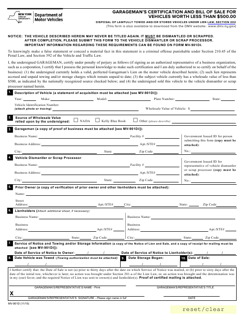 Form MV-901D  Printable Pdf