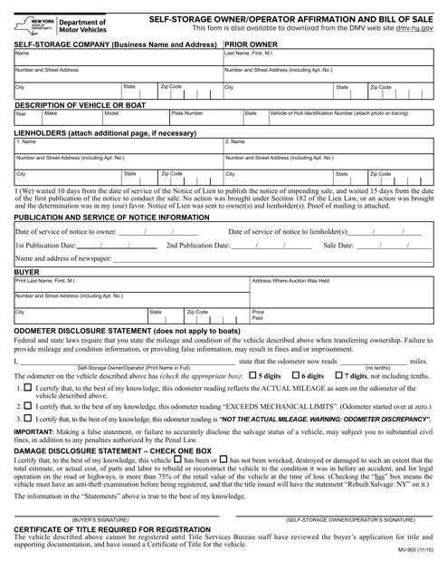 Form MV-905  Printable Pdf