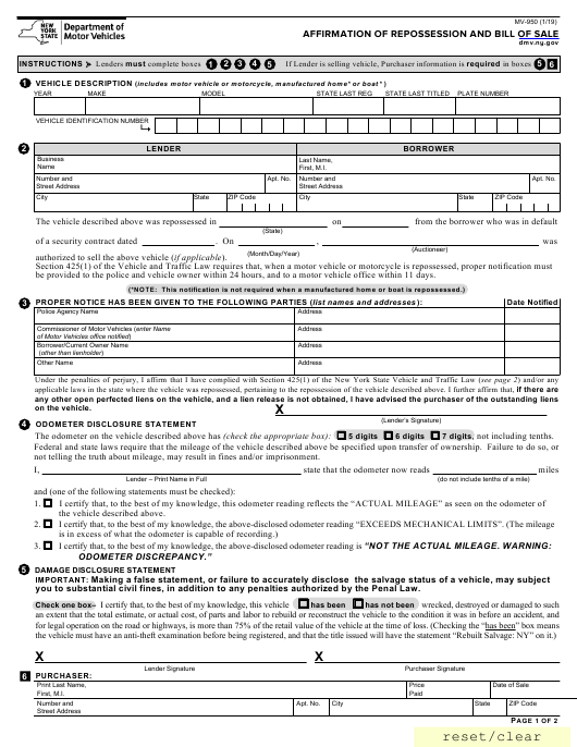 Form MV-950 Printable Pdf