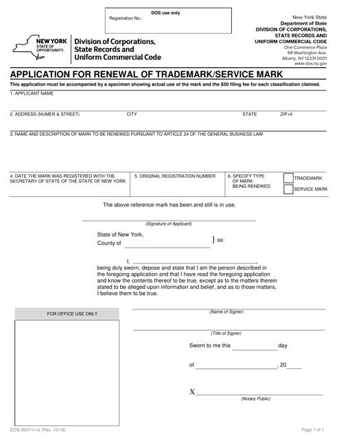 Form DOS-0247-F-L-A  Printable Pdf