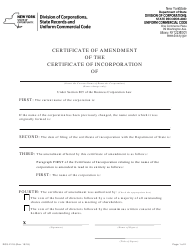 "Form DOS-2118 ""Amendment to the Certificate of Incorporation (Name Change Only)"" - New York"