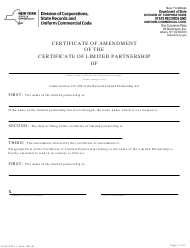 "Form DOS-2021-F ""Certificate of Amendment of the Certificate of Limited Partnership"" - New York"