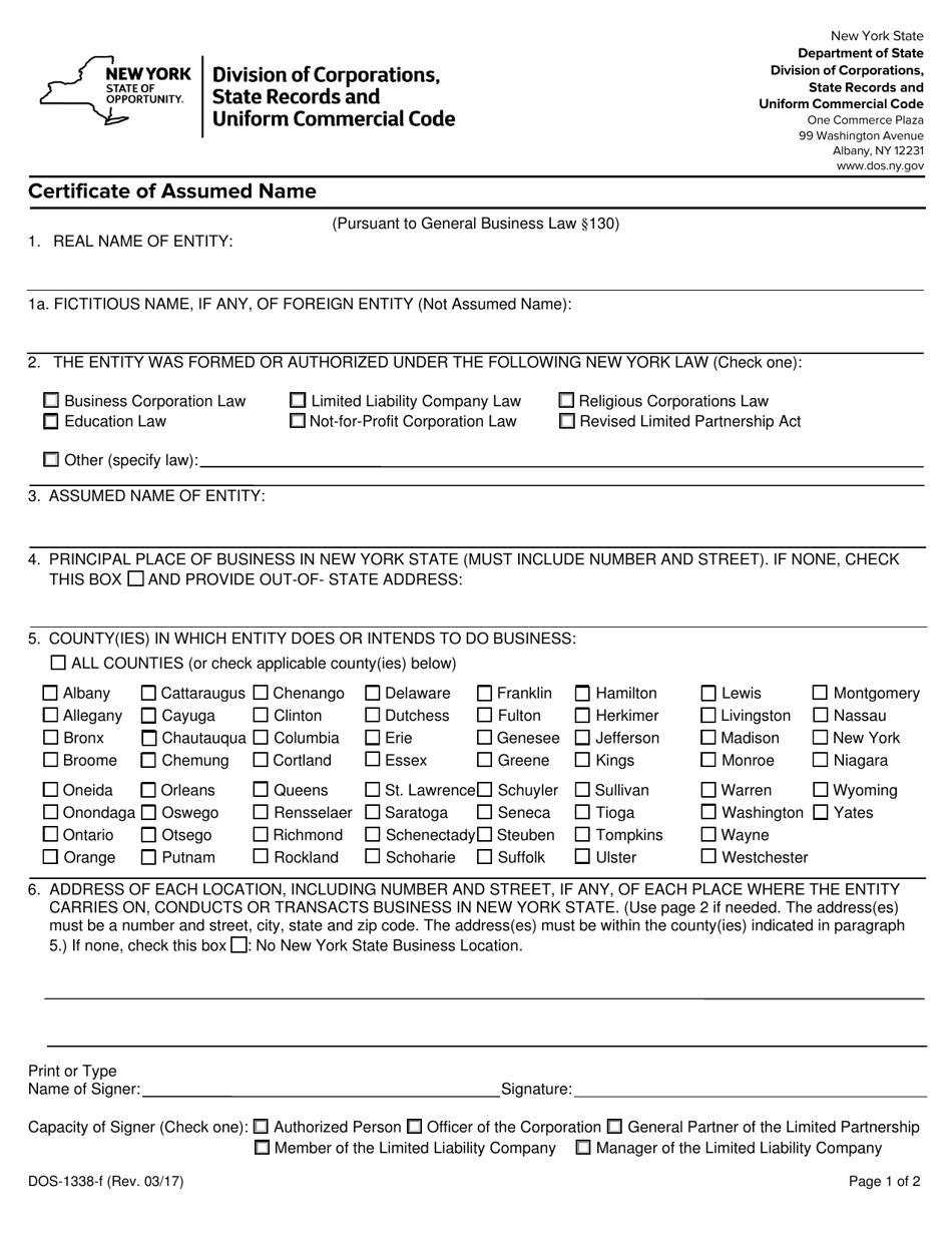 certificate assumed form york 1338 dos templateroller fill