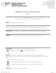 "Form DOS-1561-F ""Certificate of Dissolution"" - New York"