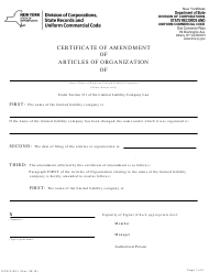 "Form DOS-2120-F ""Certificate of Amendment of Articles of Organization (Name Change Only)"" - New York"