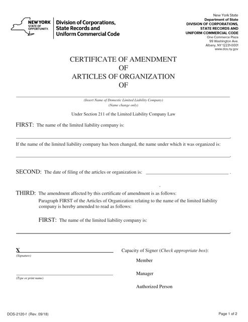 Form DOS-2120-F  Printable Pdf