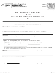 "Form DOS-1385-F ""Certificate of Amendment of the Certificate of Limited Partnership"" - New York"