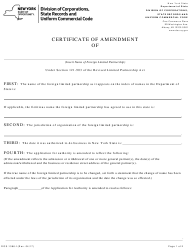 "Form DOS-1386-F ""Foreign Limited Partnership Certificate of Amendment"" - New York"