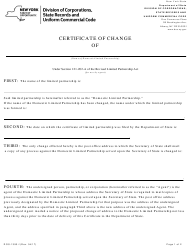 """Form DOS-1393-F """"Certificate of Change"""" - New York"""