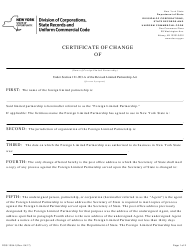 """Form DOS-1394-F """"Foreign Limited Partnership Certificate of Change"""" - New York"""