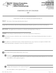 "Form DOS-1389-F ""Certificate of Change"" - New York"
