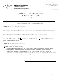 """Form DOS-1392-F """"Certificate of Resignation of Registered Agent"""" - New York"""