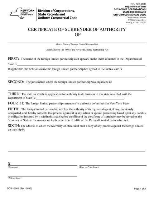Form DOS-1396-F  Printable Pdf