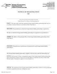 "Form DOS-1527-F ""Notice of Registration"" - New York"