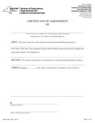"Form DOS-1520-F ""Certificate of Amendment"" - New York"