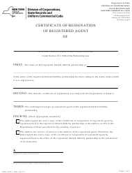 """Form DOS-1524-F """"Certificate of Resignation of Registered Agent"""" - New York"""