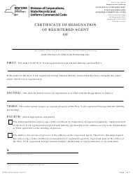 """Form DOS-1525-F """"Certificate of Resignation of Registered Agent"""" - New York"""