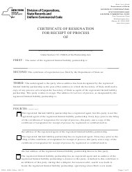 """Form DOS-1528-F """"Certificate of Resignation for Receipt of Process"""" - New York"""