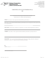 """Form DOS-1530-F """"Certificate of Withdrawal"""" - New York"""
