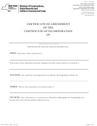 """Form DOS-1553-F """"Certificate of Amendment of the Certificate of Incorporation"""" - New York"""