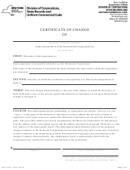 """Form DOS-1670-F """"Certificate of Change"""" - New York"""