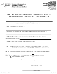 """Form DOS-0639-F """"Certificate of Annulment of Dissolution and Reinstatement of Corporate Existence"""" - New York"""