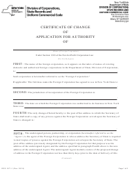 """Form DOS-1671-F """"Certificate of Change of Application for Authority"""" - New York"""
