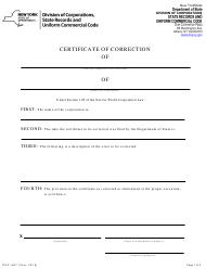 """Form DOS-1667-F """"Certificate of Correction"""" - New York"""