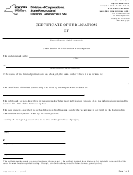 """Form DOS-1711-F """"Certificate of Publication"""" - New York"""