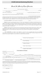 """Form DOS-2060 """"$10,000 Authorized Sanctioning Entity Bond"""" - New York"""