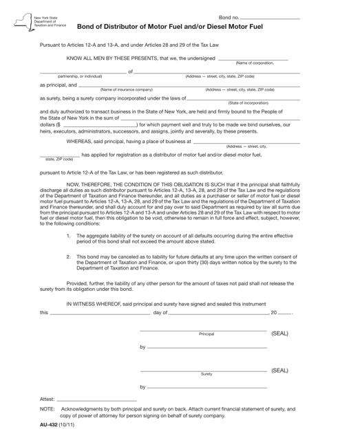 Form AU-432  Printable Pdf