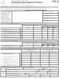 "Form CG-5 ""Nonresident Agent Cigarette Tax Report"" - New York"