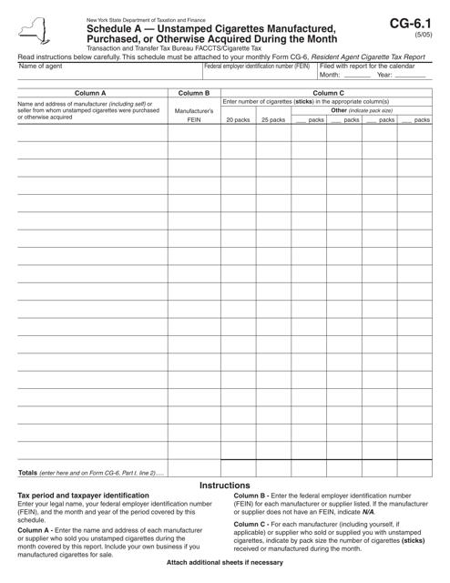 Form CG-6.1 Schedule A  Printable Pdf